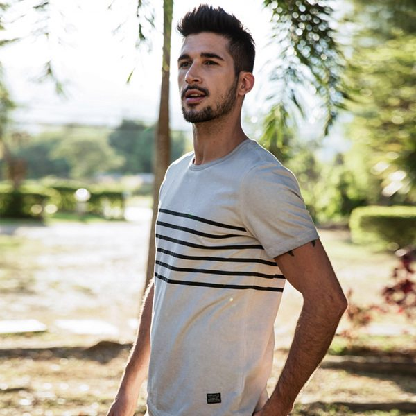 Summer Short Sleeve Stripe Printed T-shirt